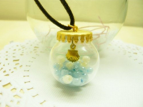 Nadia ♥ Dream crystal ball blue Wishing seashell necklace section * Limited