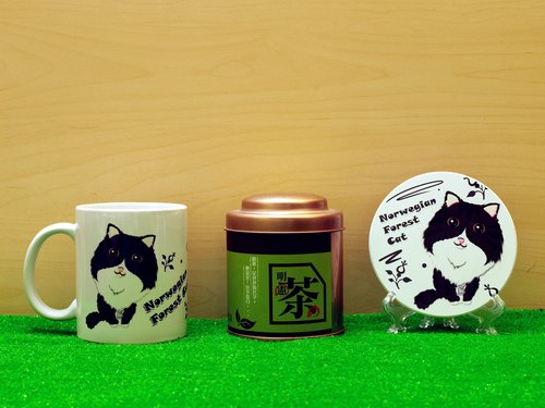 """Father Tea X NONCOOL"" Cat series - Norwegian Forest Cat * deep black. Tea gift"