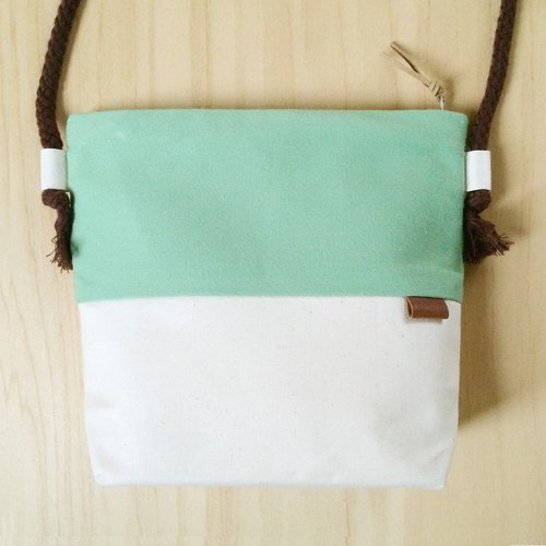 Small oblique backpack - Mint Green