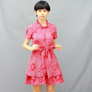 Red Shirt/dress/Bow/Floral Print Dress