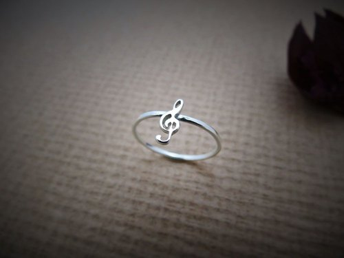 Little Note Series – Treble clef (925 sterling silver ring) - C percent handmade jewelry