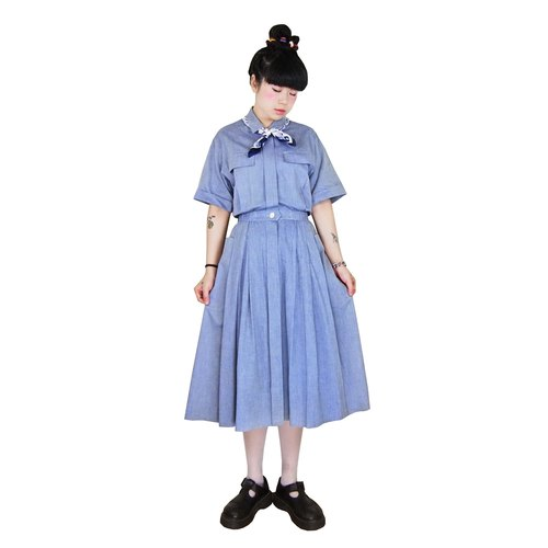 A‧PRANK: DOLLY :: VINTAGE retro with a blue-gray double pocket skirt discounted high-texture short-sleeved vintage dress