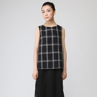 BUFU Hand woven linen check tank-top   CUT-SEW150404
