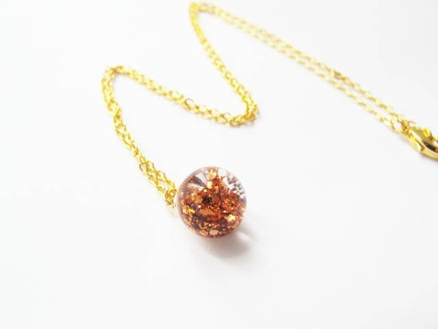 *Rosy Garden*Bronze glitter with water inside glass ball necklace