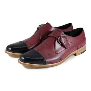 JAZZ M1120 Stitching Black Burgundy leather Monk-Strap Shoes