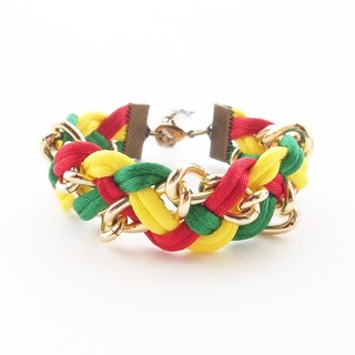 Red,yellow and green braided bracelet with gold chain