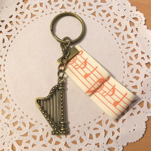 "【Harp Ribbon Key Ring (Bronze)】 Musical Instrument Speakers Ribbon Hand-made Customized ""Rice Bear"" Graduation Gifts"