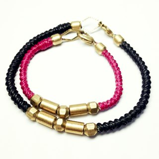 Love Carnival series. Couple chain group (threw hand knock letter cards) ◆ Sugar Nok ◆ wax line bracelet brass
