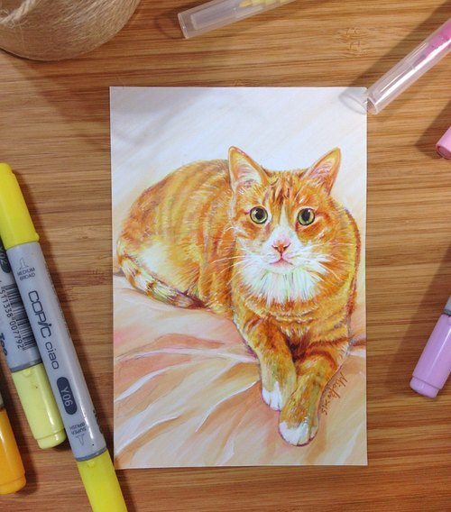 "[Please private message photos and then orders] Spinning Cat ""Microphone"" 4 ""× 6"" Pet portrait - single"
