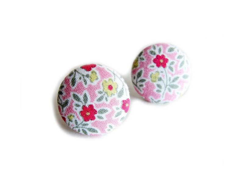 Cloths pink flower earrings clip-on earrings can do