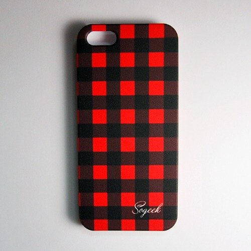 SO GEEK phone shell design brand THE CHECK PRINT GEEK red and black checkered paragraph