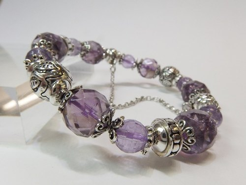 Violet - Natural Amethyst 925 sterling silver bracelet Hong Kong original design