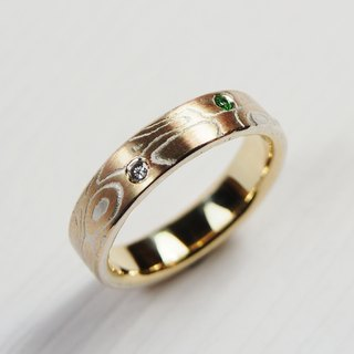 Element 47 Jewelry studio~ Karat gold mokume gane wedding ring 08(14KY/14KR/925)