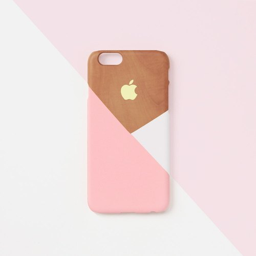 iPhone case - Pastel pink layered wood pattern - for iPhones - non-glossy L05