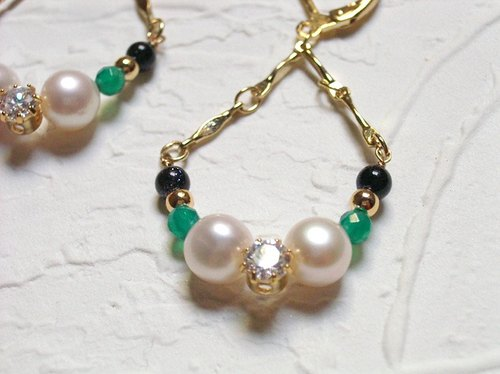Retro natural pearl earrings agate