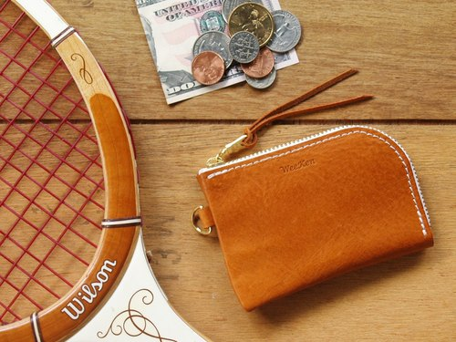 [ weekenlife ] - Leather Coin Purse ( Custom Name ) - Classic Tan