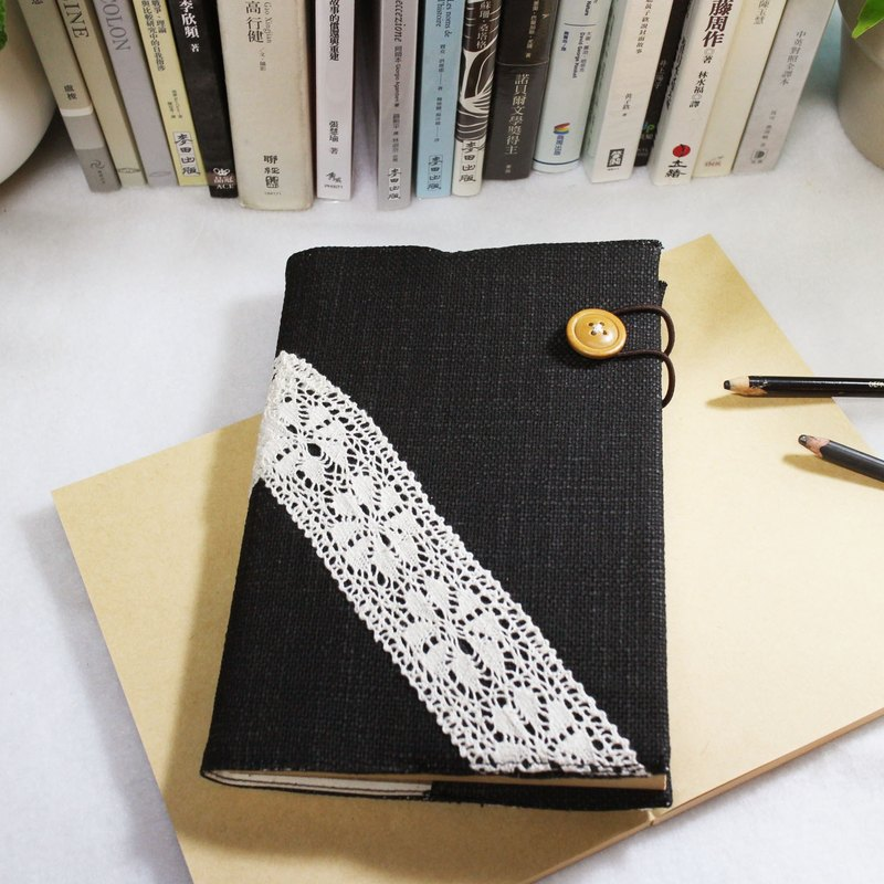 "Hand-made book notebook ""end of the franchise time"" black rough canvas section (Big Ben = A5)"