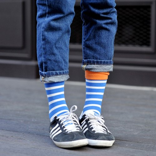 GREEN BLISS Organic Cotton Socks - [Stripe Series] Baobab Orange Blue Striped Stockings (Male / Female)