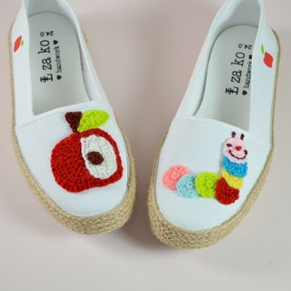 Casual cotton canvas hand made shoes, apple caterpillar models, weaving models