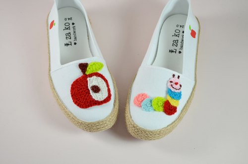 Casual cotton canvas hand-made shoes Apple caterpillar models with braided section