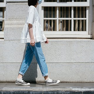 hanamikoji shoes  Comfortable Casual Flat Shoes Black and White Gingham Japan Co