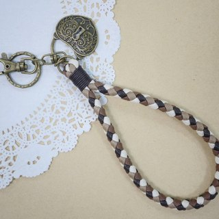 ~ M + Bear ~ vintage braided wire braided wax keychain key ring (four shares edge: Coffee Department)