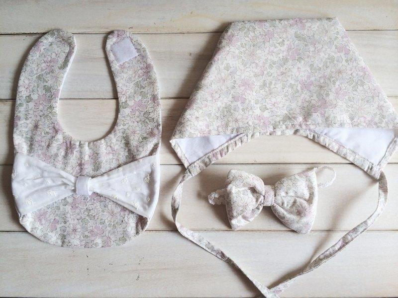 MIT手作 初生女寶寶 帽子和圍兜 滿月彌月禮物 附包裝