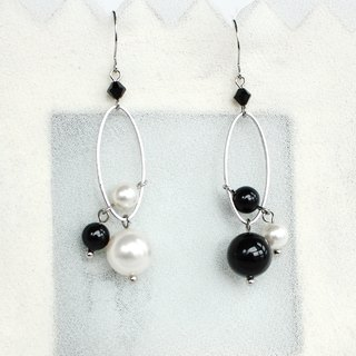 White and black crystal pearl earrings