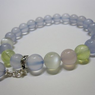 Cool - all natural blue chalcedony + grape stone + moonstone + pink chalcedony 925 sterling silver handcuffs