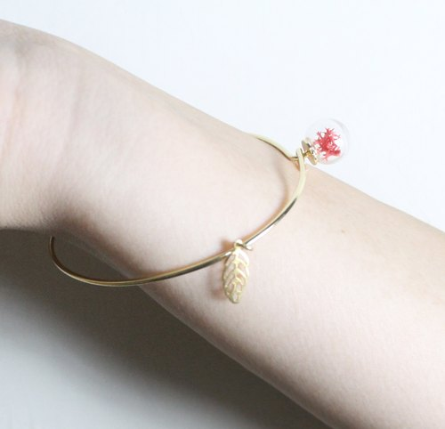 △ glass ball gold bracelet fine - Rose Moss MOSS - to love (bracelet pendant removable)
