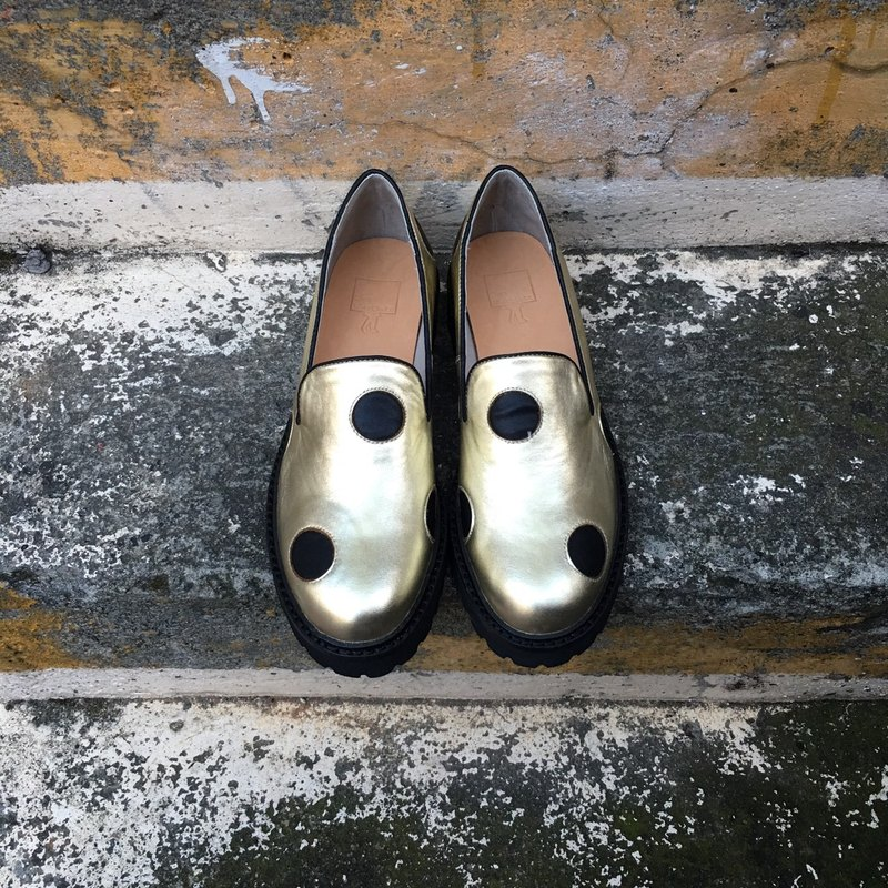 Painting # 977 || I say fried black spots gold leather platform shoes ||