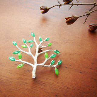 *coucoubird*green leaf pin / silver