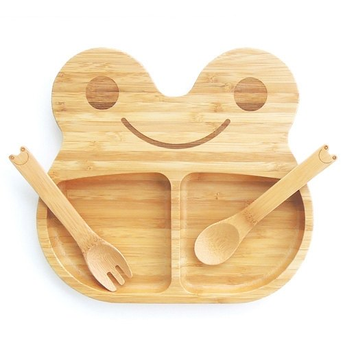 La-boos bamboo children's cutlery dinner plate spoon fork happy smile frog