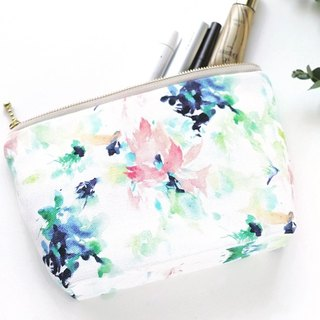 """Bouquet""  Medium Zipper Pouch Made Of Original Design Textile"