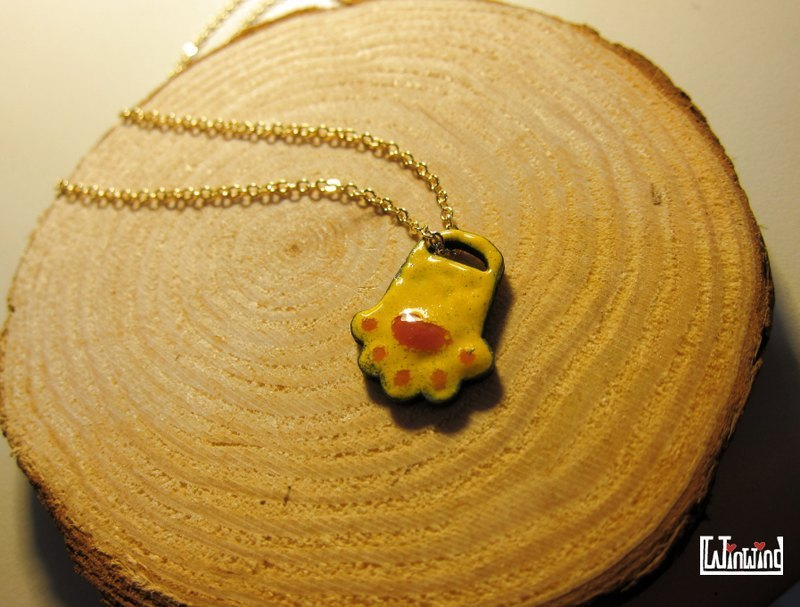 Enamel Works - Customized semicircle palm kitten necklace story