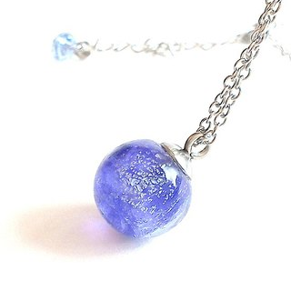 Roland purple transparent silver (spiritual energy) Planet Series / handmade glass necklace