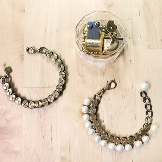 "Round Di ""heart of heart"" love imprint rivets pearl bracelet (Valentine models men) hand retro brass"
