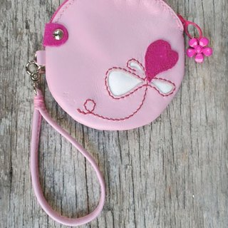 Pink purse hanging round hand hand-sewn Pink purse 141028