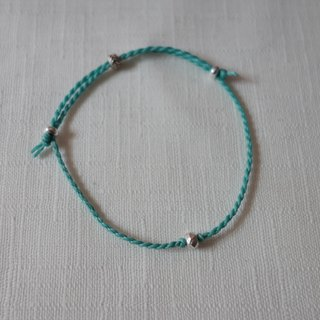 ~ M + Bear ~*Simple*Mint Green Simple Fine Bracelet 925 Silver Japanese Wax Line