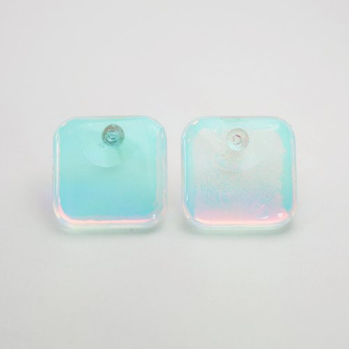 waterdrop earrings (square glass blue)