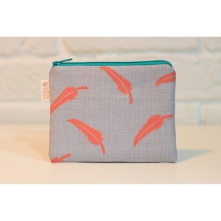 Feather wind series _ Puffs feather purse duplex Orange Patterns