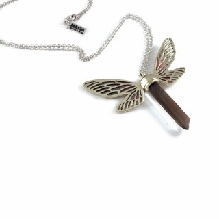 White bronze Dragonfly wing pendant with smoky raw quartz stone and enamel color