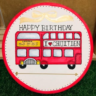 [I Love UK Series]-Routemaster double-decker bus hand-painted coasters