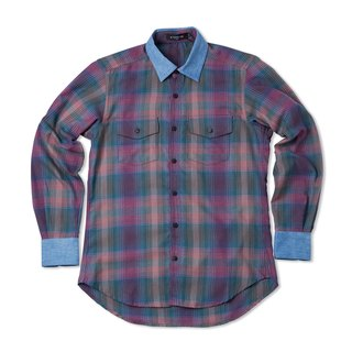 Stone'As Check Shirt / cowboy tannin splicing plaid shirt