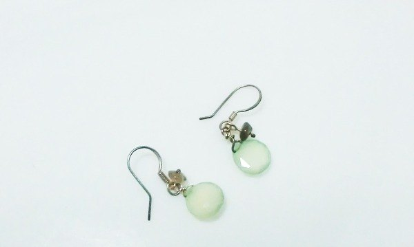 Tong Ling set record 925 sterling silver ornaments ~} {green natural light green chalcedony blue labradorite Handmade earrings