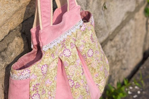 Love the Earth hand-made suede bag * small pink flowers bags | choose your favorite fabric