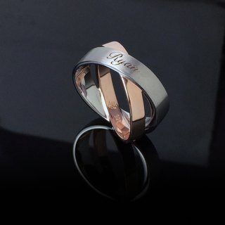 Intertwined melodies - custom engraved inscription silver rose gold plated ring ring male ring