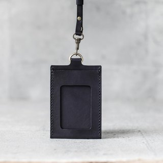 black veg-tanned leather ID card case