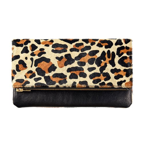 GWYNETH Clutch / Side Backpack _Black / Leopard (Black / Leopard)