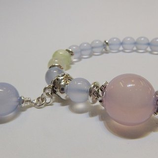 Clear heart - Natural blue chalcedony + grape stone + moonstone + pink chalcedony sterling silver handcuffs